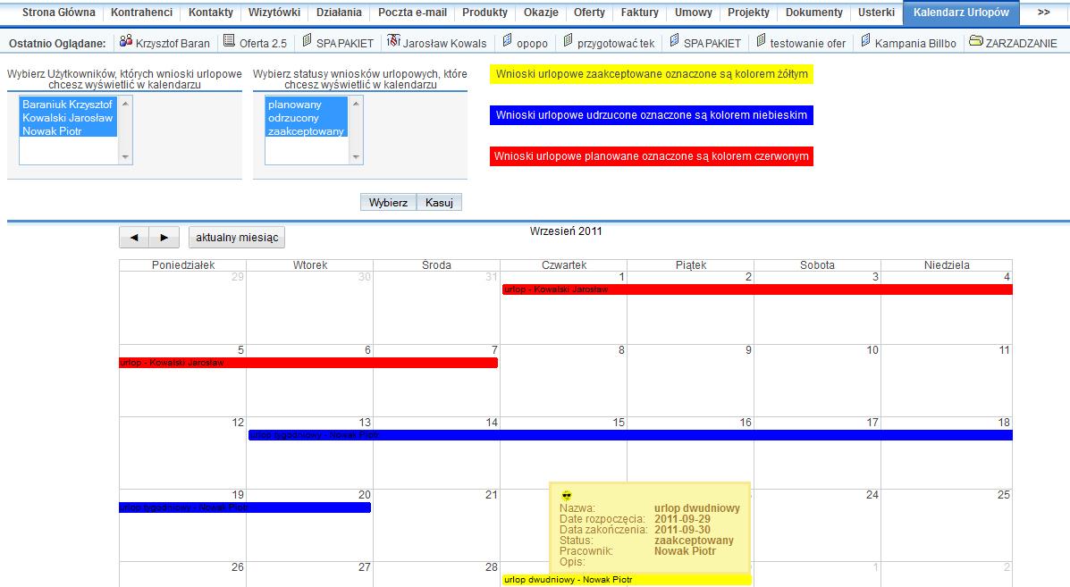 Wnioski urlopowe i ich podgląd w kalendarzu w systemie SuiteCRM.